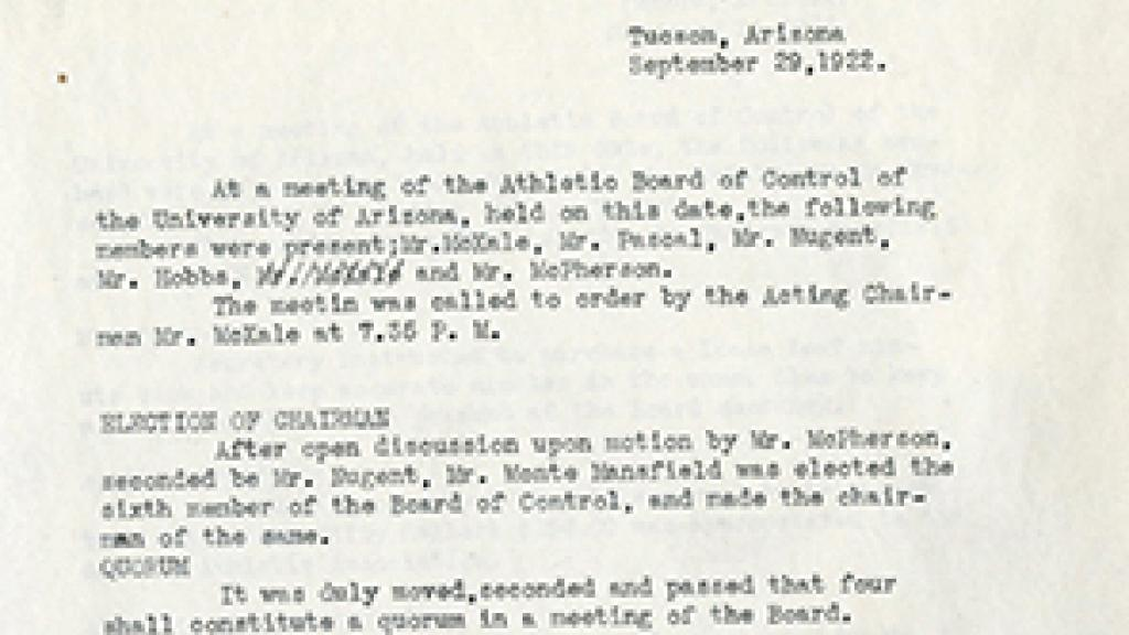 Minutes of the University of Arizona Athletic Board Control
