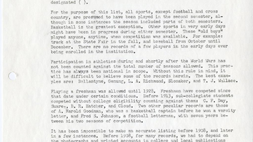 Note Describing Letterman List by J. McKale