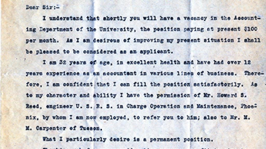 Letter to Mr. C.R. Stewart Regarding Employment