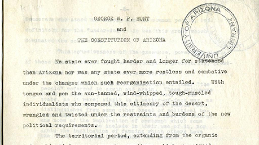 """Page from """"George W.P. Hunt and the Constitution of Arizona"""""""