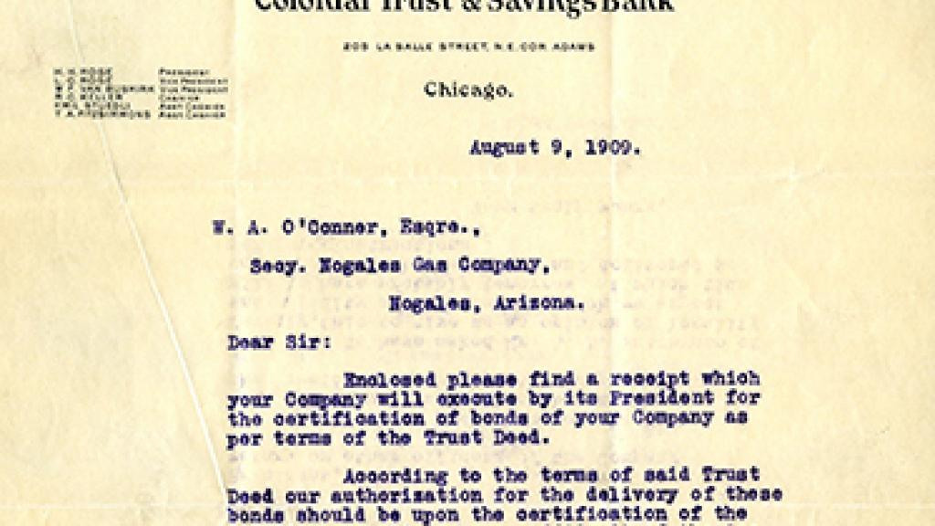 Correspondence to the Nogales Gas Company