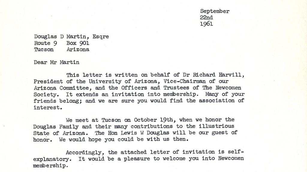 correspondence sample in douglas family collection special collections