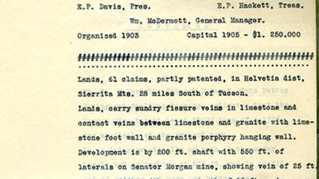 Twin Buttes Mining and Smelting Co. Land Report