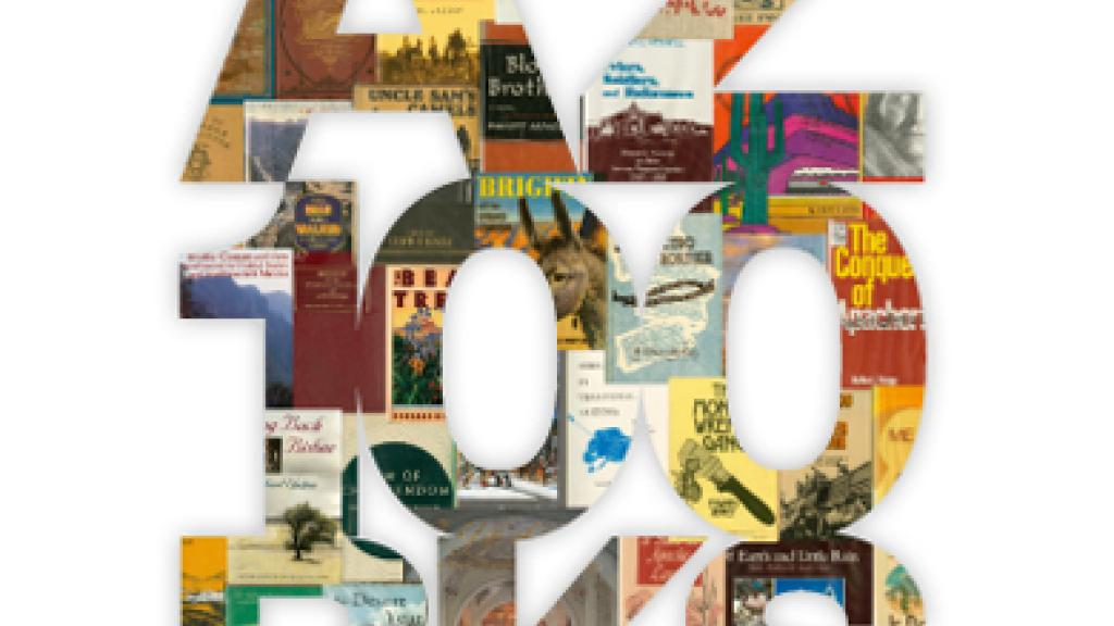 Artistic mock-up of books in the shape of letters spelling out AZ 100 BKS