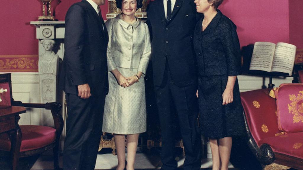 President Lyndon Johnson, Lady Bird Johnson, Secretary Stewart Udall, and his Wife Lee Udall.