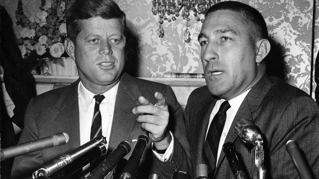John F. Kennedy and Stewart L. Udall at Press Conference