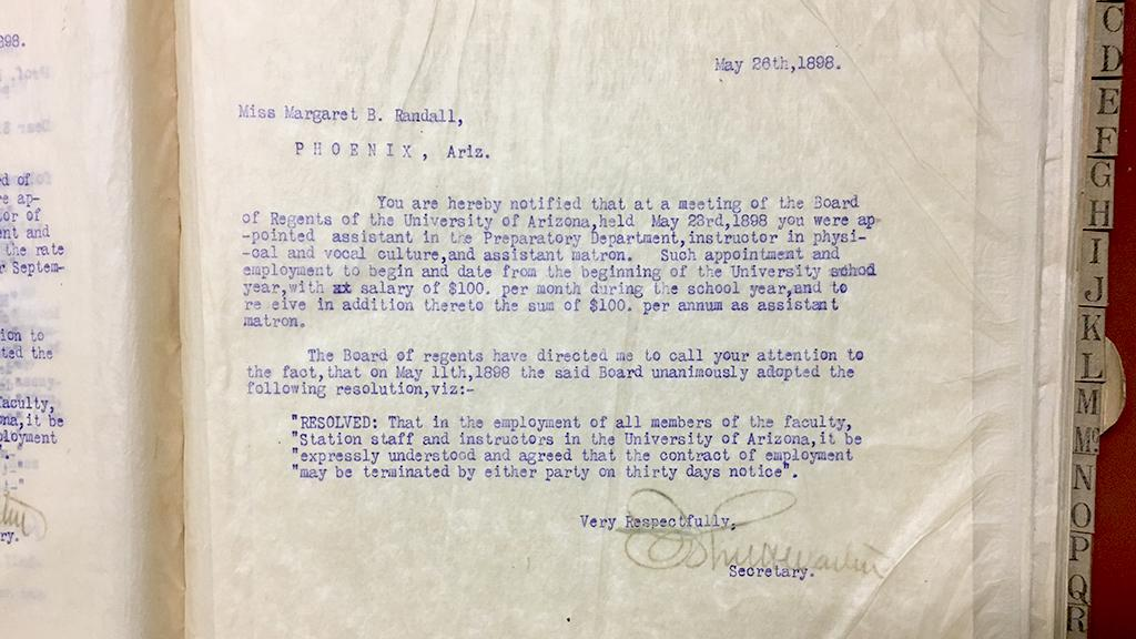 Employment letter from the University of Arizona Board of Regents, May 26, 1898