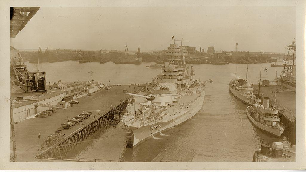 Photograph of USS Arizona in Wet Dock, circa 1932