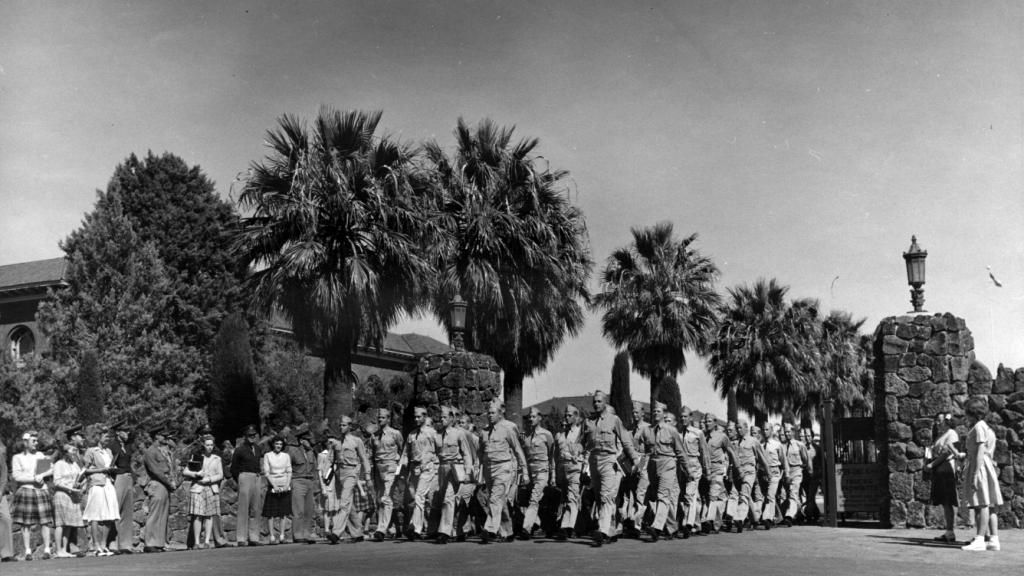 Sailors marching through Main Gate, 1942
