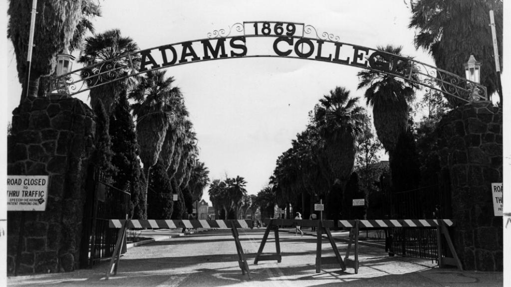 Photograph of Adams College Gate, 1984