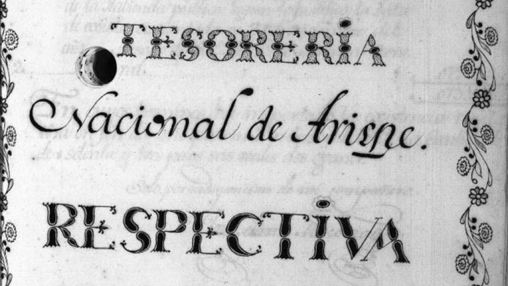 Manuscript of the Annual Report of the Tesoreria Nacional de Arispe, 1823
