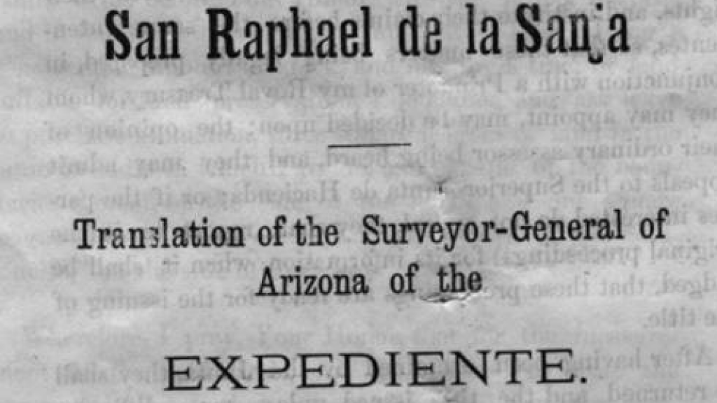 Manuscript of the Translation of the Surveyor-General of Arizona of the Expediente, front cover