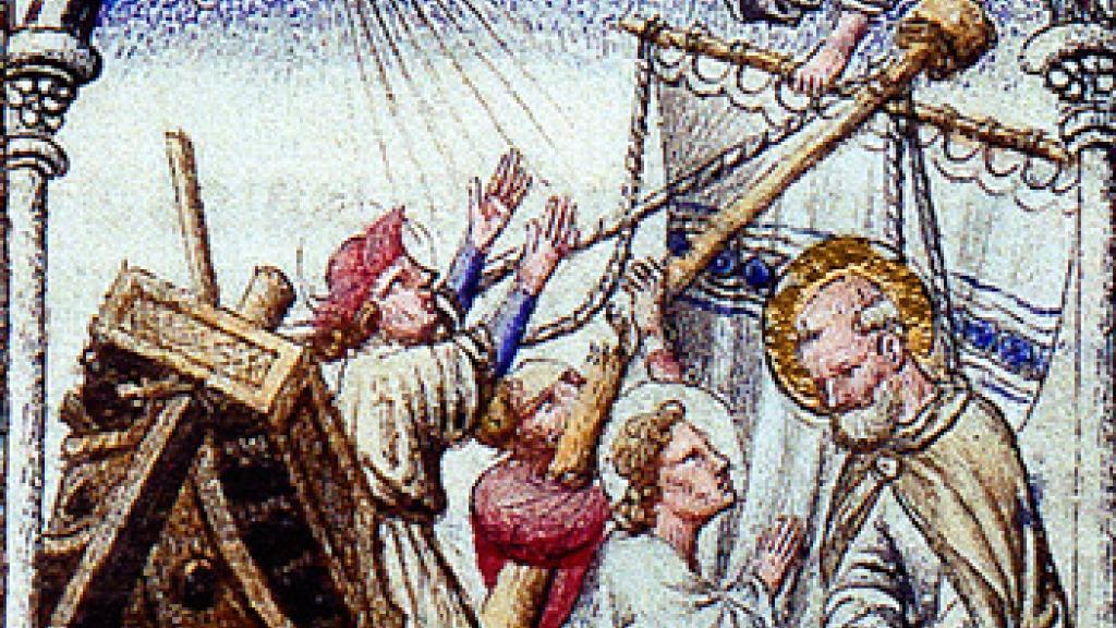 Illustration [detail] from Biblia moralizada de los Limbourg