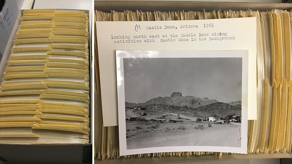 Photograph boxes and image of Castle Dome, Arizona 1965