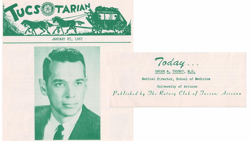 Dr. Oscar A. Thorup, Tucsotarian newsletter, 1967
