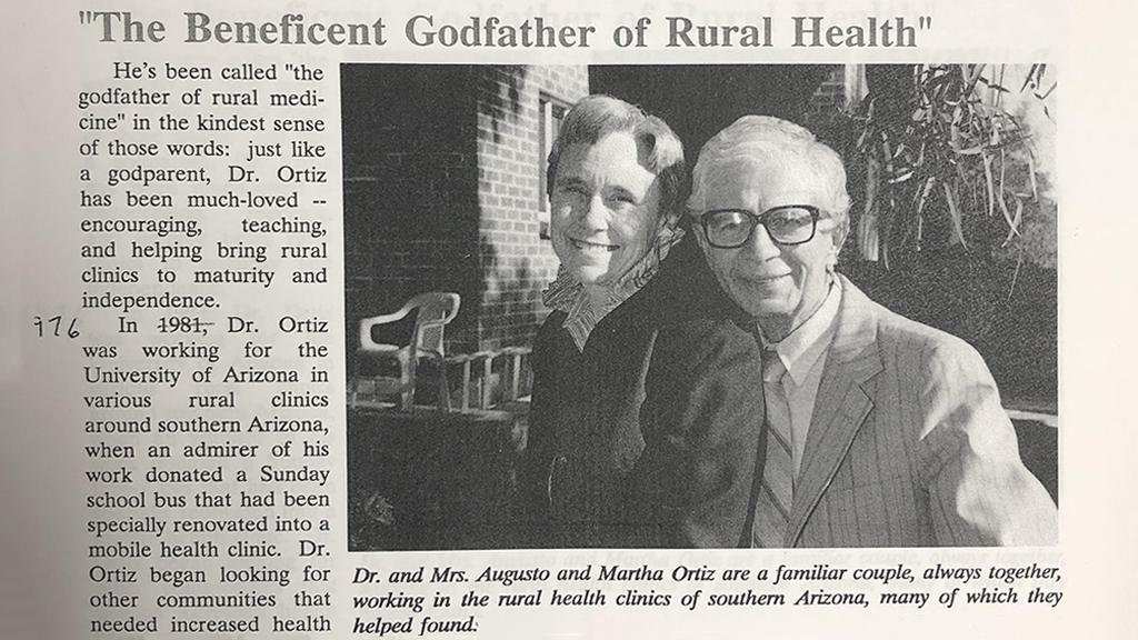 "Dr. Augusto Ortiz, ""The Beneficent Godfather of Rural Health"", 1991"