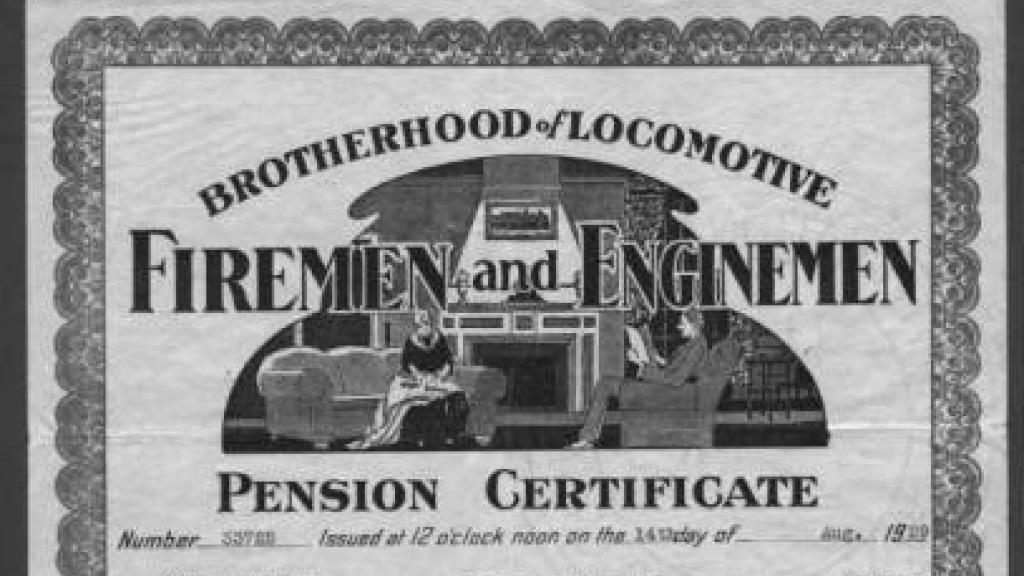 Photo of Robert A. Hohstadt pension certificate