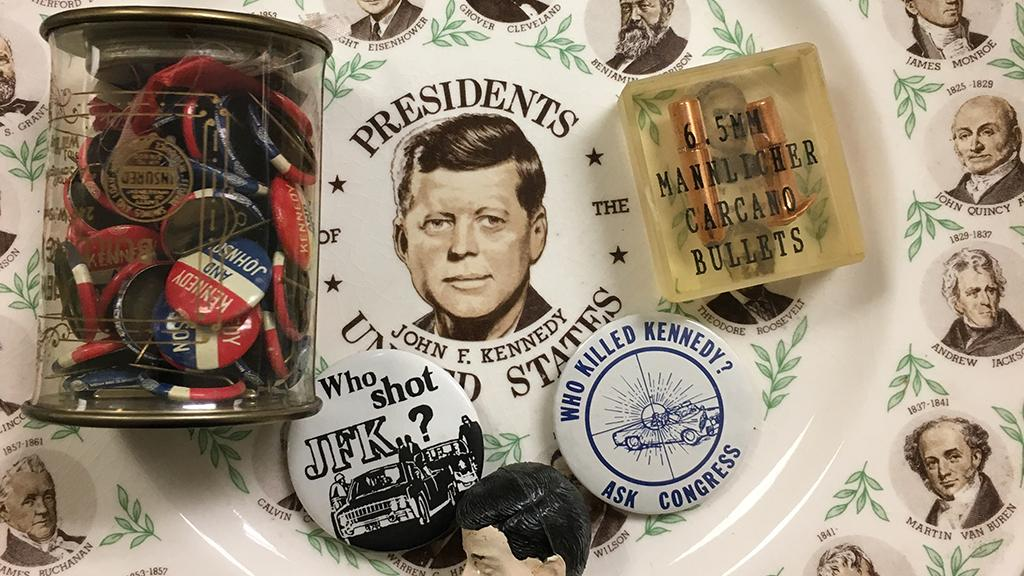 Commemorative John F. Kennedy plate, buttons, bullets and doll head, 1960s, undated