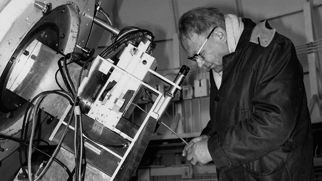 Gerard P. Kuiper with telescope, 1969