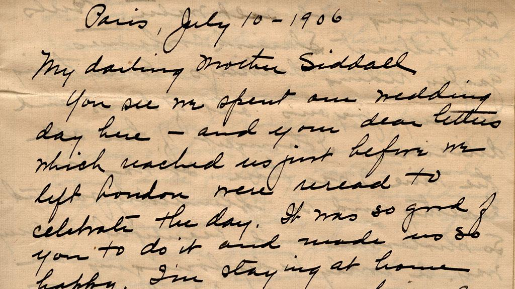 Letter to Mother Siddall, July 10, 1906