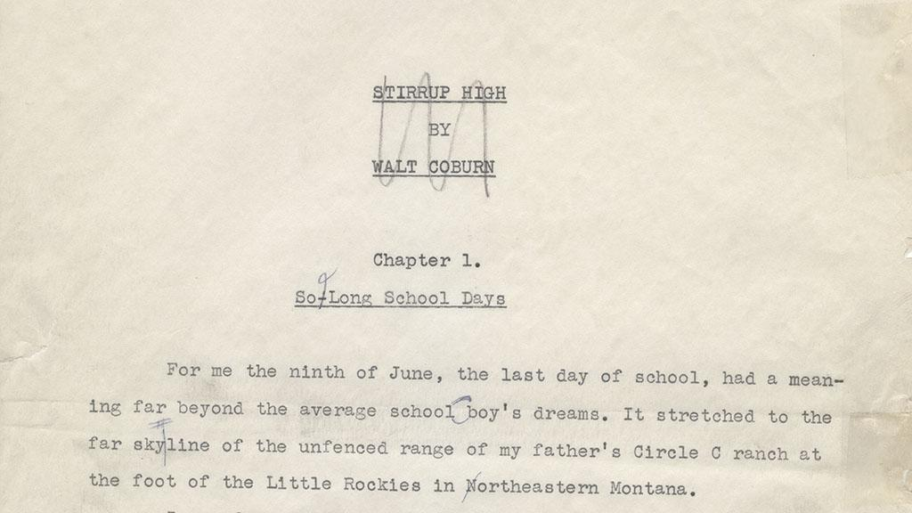 Title Page of Stirrup High Manuscript, 1956