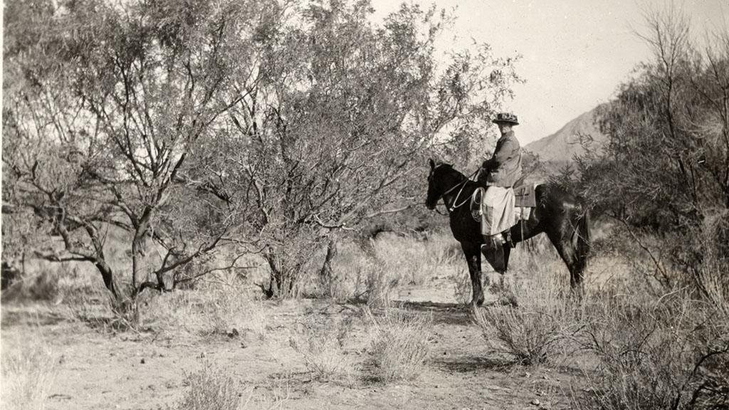 Frances Douglas on Horse in the Tucson Desert, 1925