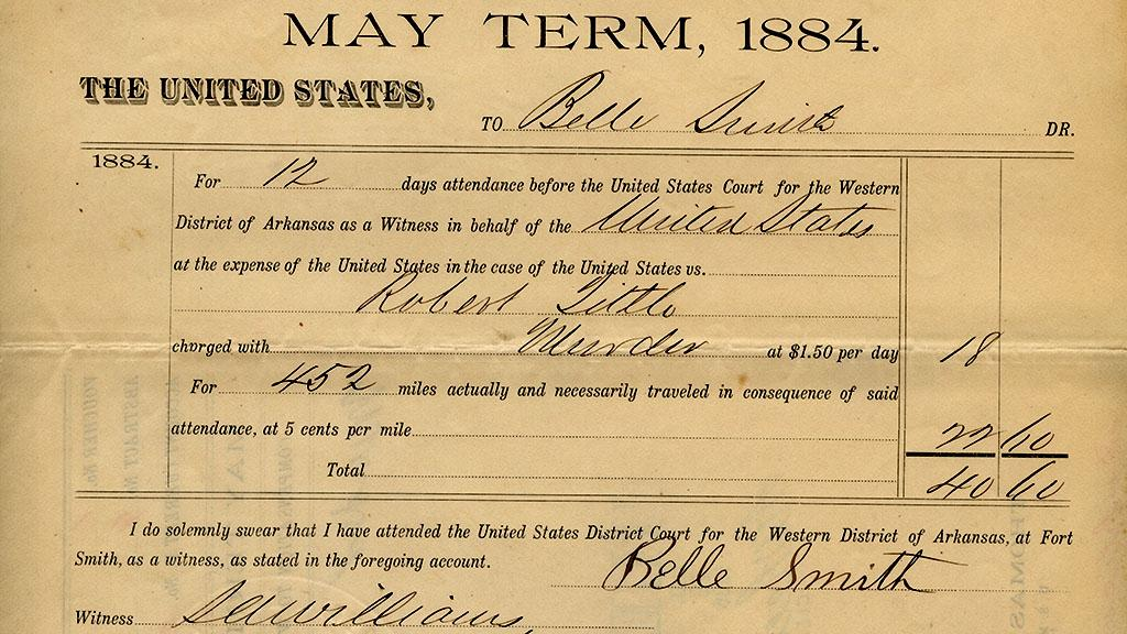 Compensation Slip Issued to Belle Smith, May, 1884