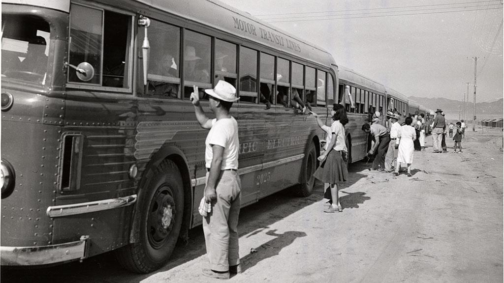 Buses Arrive at Poston, AZ, 1942