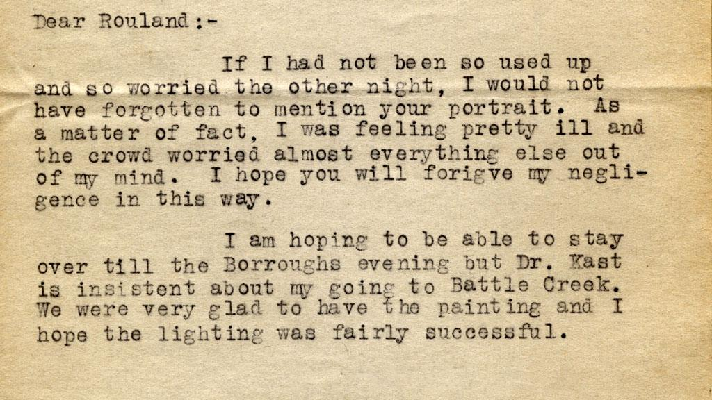 Letter to Orlando Rouland, 1917