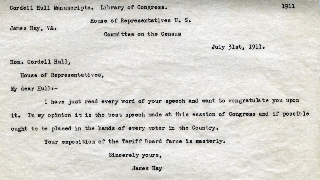 James Hay Letter to Congressman Cordell Hull, July 31, 1911