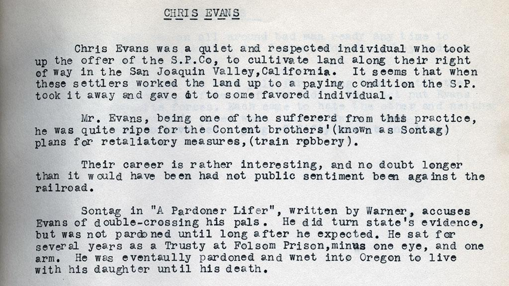 Research Card for Chris Evans, circa 1950