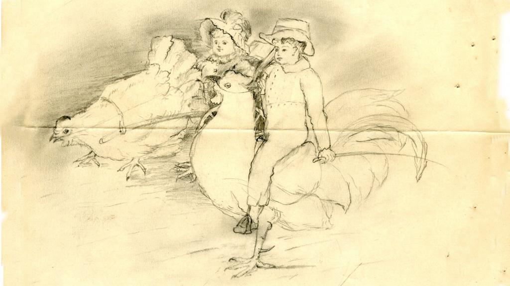 """Riding Chickens"" drawing by Jane G. Austin, circa 1890-1894"