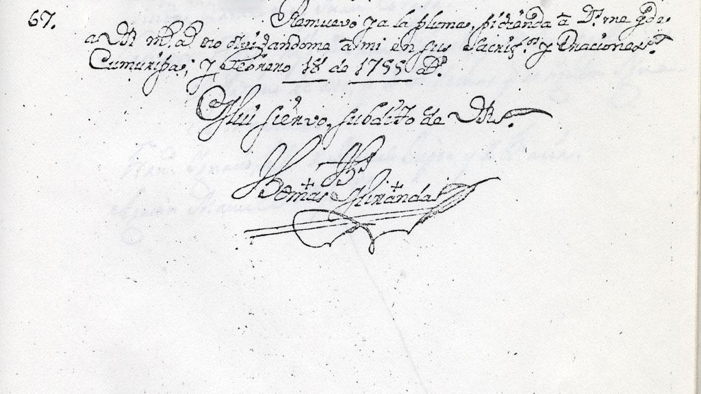 Carta de Tomas Miranda, 1755