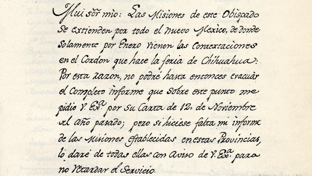 Informe del Obispo de Durango Sobre las Misiones, 1789
