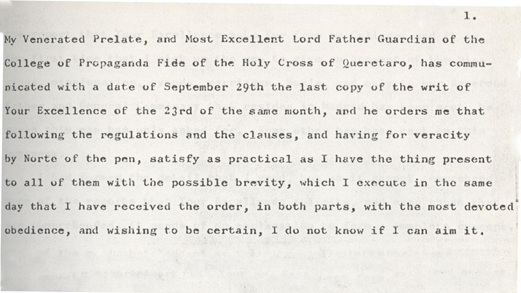 Letter to the Most Excellent Lord Viceroy Count of Revillagigedo, 1793