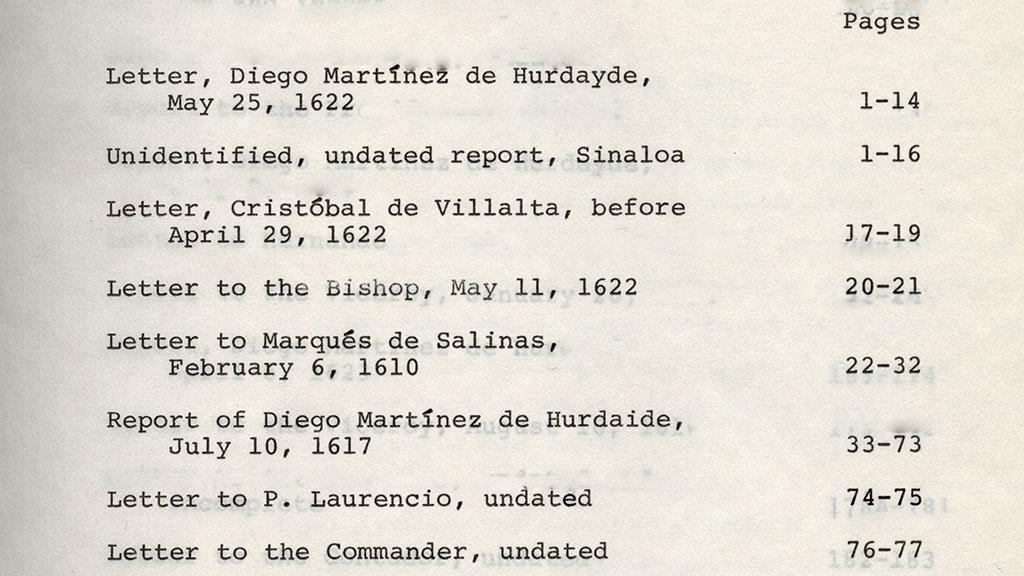 Sinaloa Jesuit Reports Table of Contents