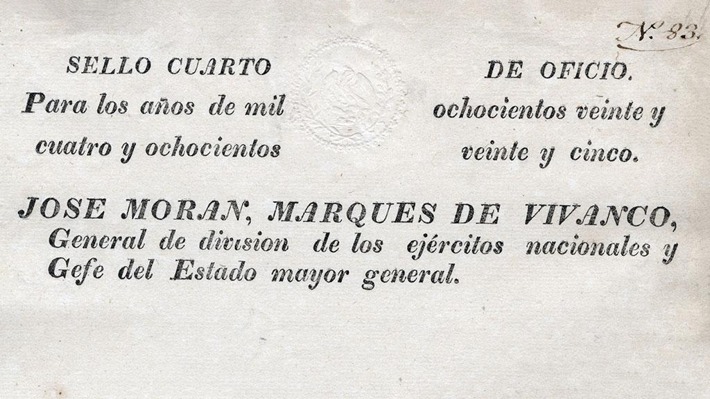 Army Discharge for Manuel Paredes, 1825