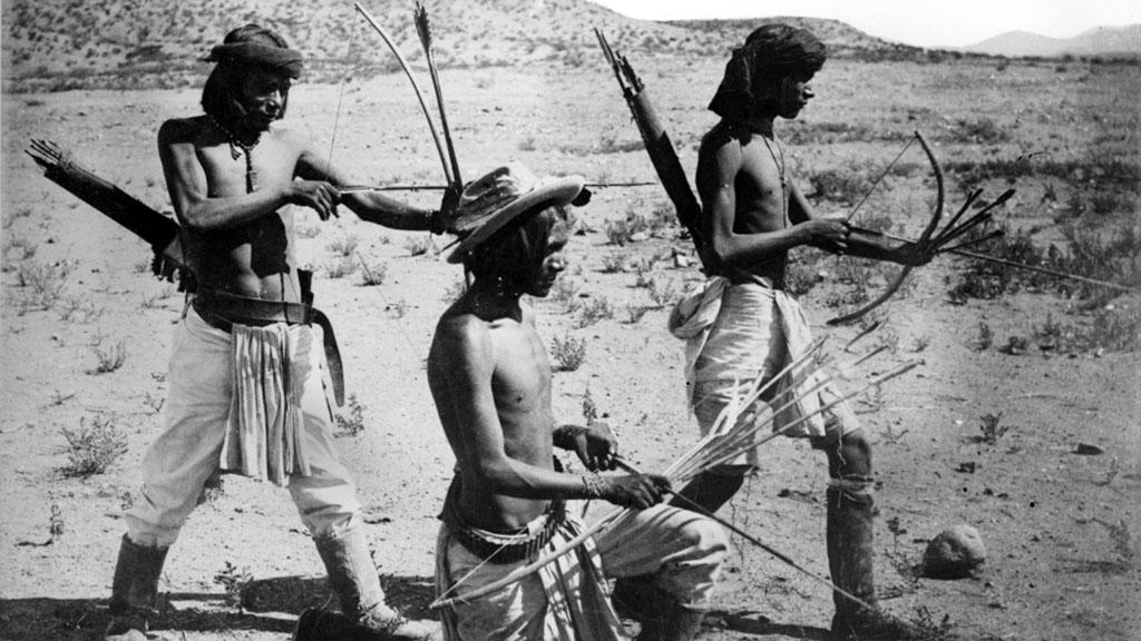 Apache Desert Hunters using Bows and Arrows, circa 1870-1880