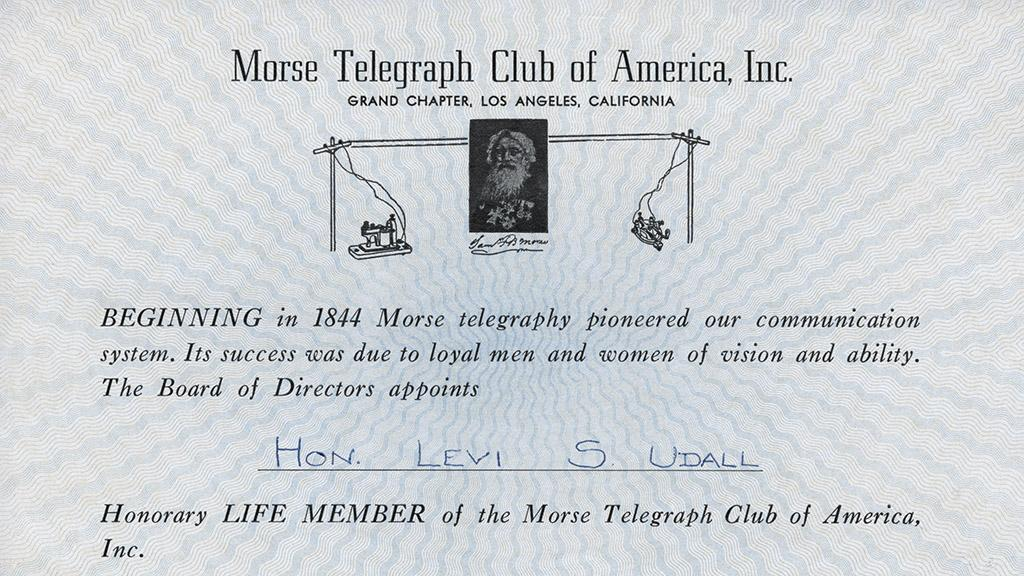 Certificate of Life Membership in the Morse Telegraph Club of America, undated