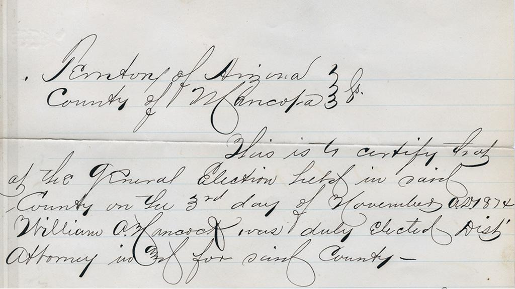 William A. Hancock Declaration of Election, 1874
