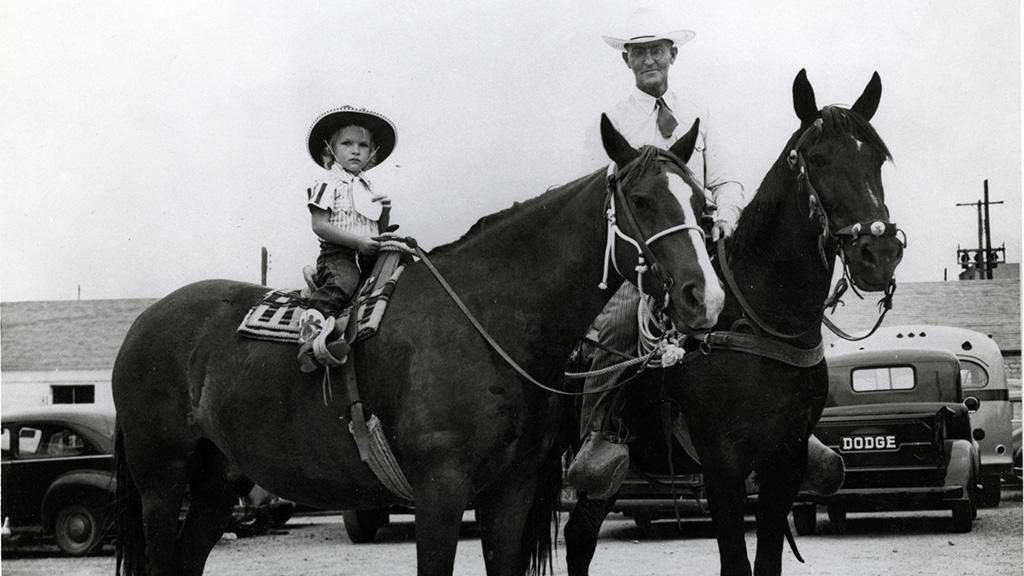 Monte Ray Stewart and Daughter on Horses, undated