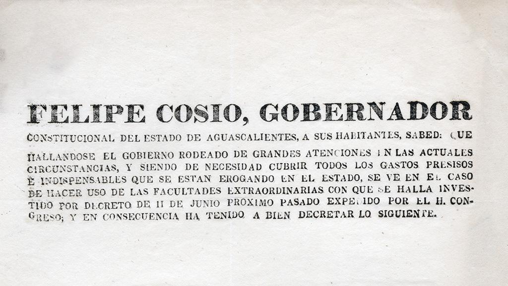Gobernador Felipe Cosio declaration, 1847