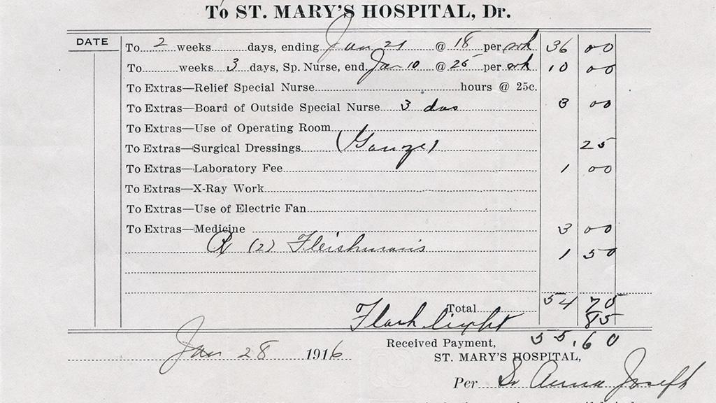 St. Mary's Hospital Bill, January 28, 1916