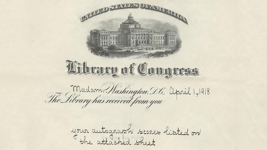 Library of Congress Donation Receipt, April 1, 1918
