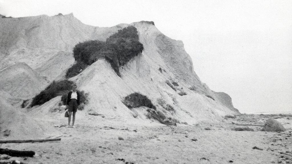 Sue T at Foot of Gay Head Cliffs, circa 1957