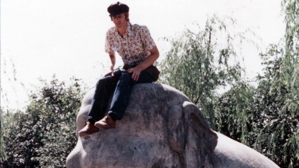 David Yetman Seated on Elephant Statue, October, 1978