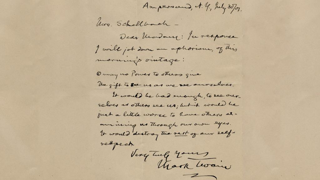 Letter from Mark Twain, July 30, 1901