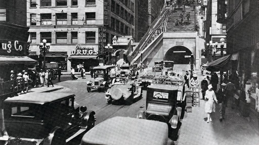 Angels Flight, Third and Hill Streets, Los Angeles, 1901 to 1969