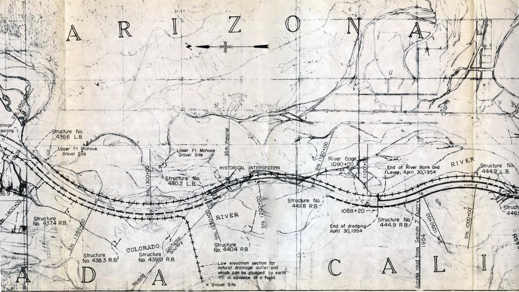 Map for Colorado River Channelization Project, 1955