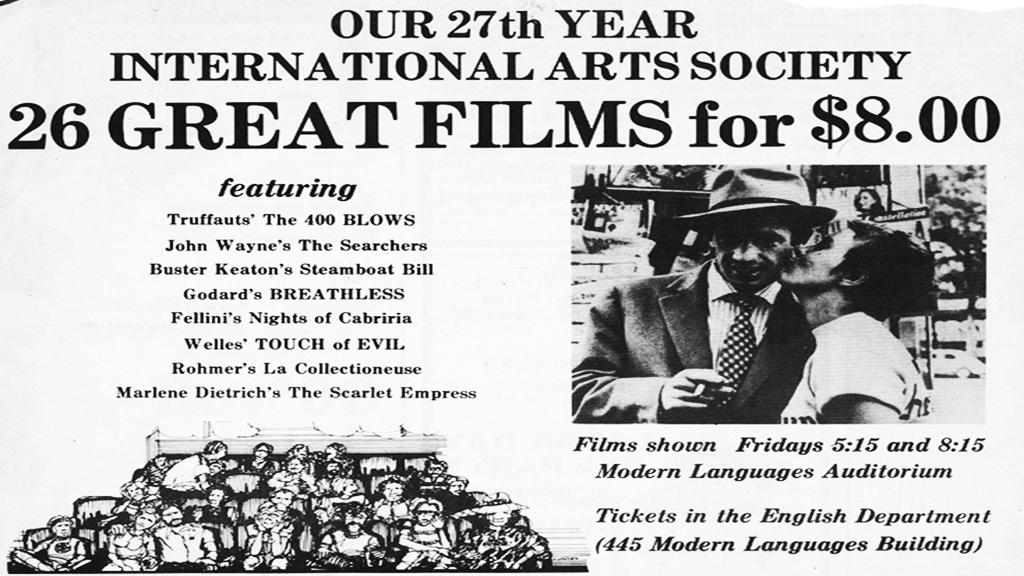 International Arts Society Cinema Club Schedule, 1980